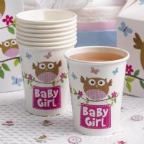 Little Owls Pink Baby Girl Cups (8)